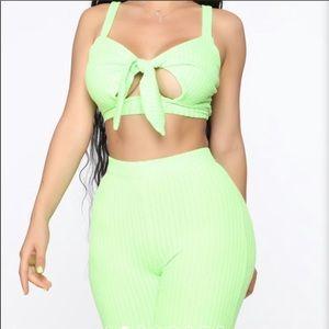 Fashion nova neon green two piece